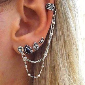 Gothic BOHO 5 Piece Earring, Cuff and Chain Set